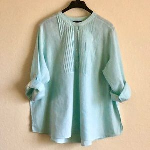 Lane Bryant Mint Green Linen Cotton Tunic Sz 26/28